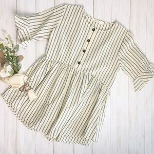 Lake Flower Yellow/Gray Striped Ruffle Blouse - S